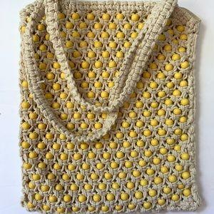 Yellow boho beaded bag